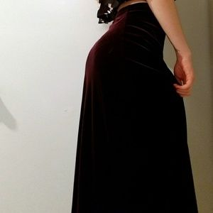 Deep Plum Velvet Maxi Skirt